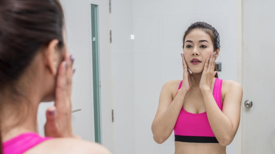 If your skin feels tight, it is likely to be dry, while oily skin will feel greasy and shiny all over.