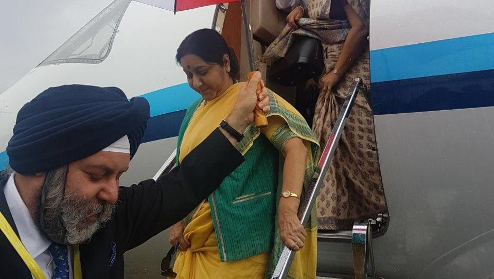 Sushma Swaraj arrives in Kathmandu for 15th BIMSTEC meeting
