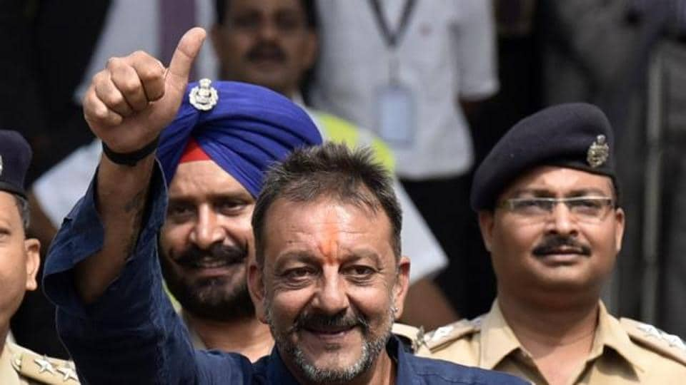 Sanjay Dutt arrives at Santacruz Domestic Airport from Pune after completing his prison term following his conviction in the 1993 Mumbai serial blasts case in Mumbai.