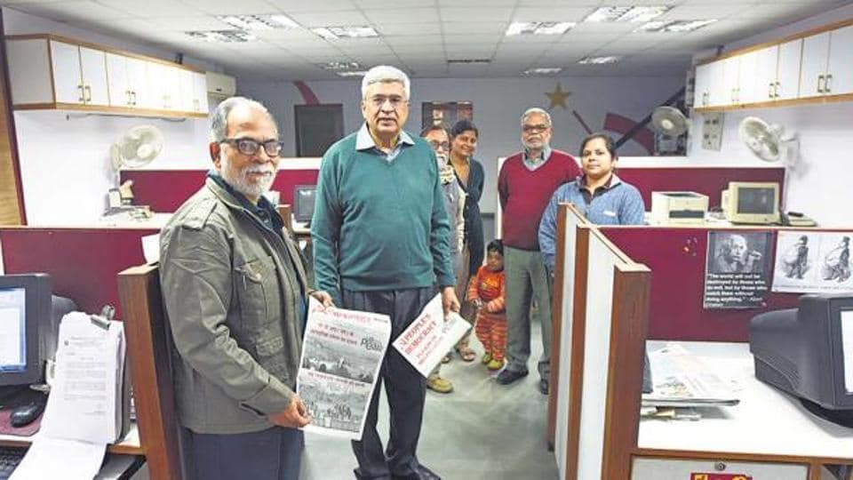 CPI(M) leader Prakash Karat at the office of party's mouthpiece People's Democracy.
