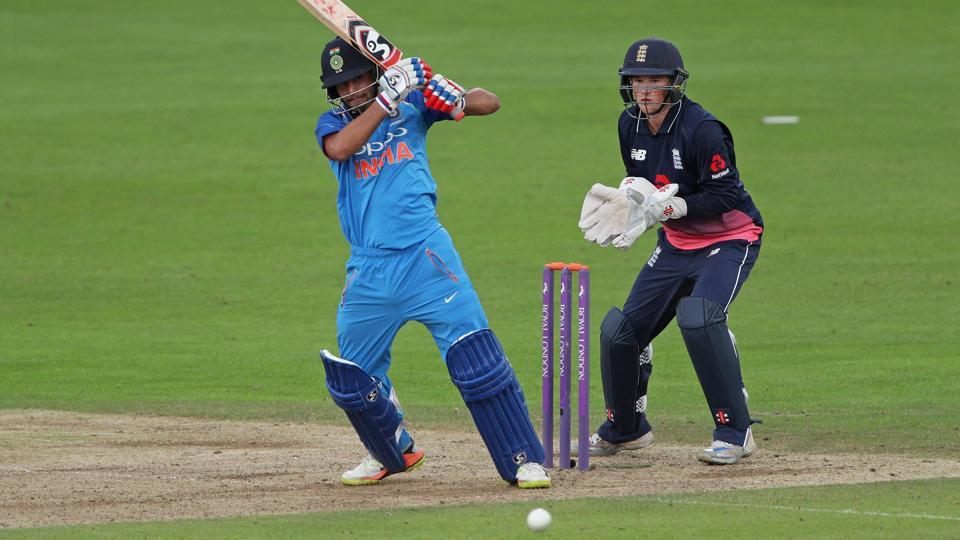 Himanshu Rana of India U-19 reaches a half century as England U-19 wicket-keeper Ollie Robinson looks on during their match at The Spitfire Ground on Wednesday in Canterbury, England.