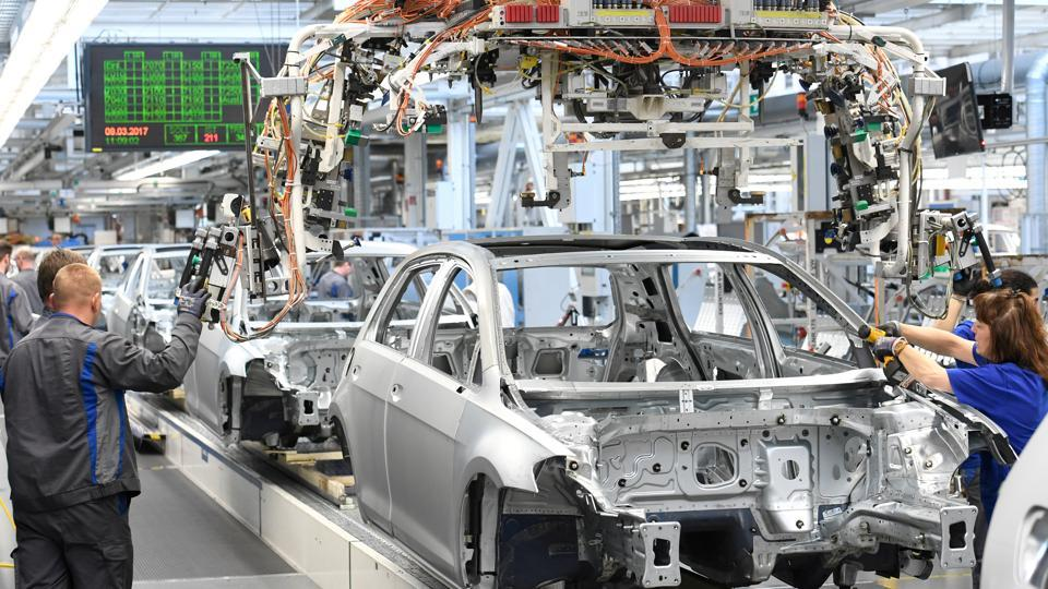 File photo of VW Golf cars on a production line at the German carmaker Volkswagen's plant in Wolfsburg in March 2017.