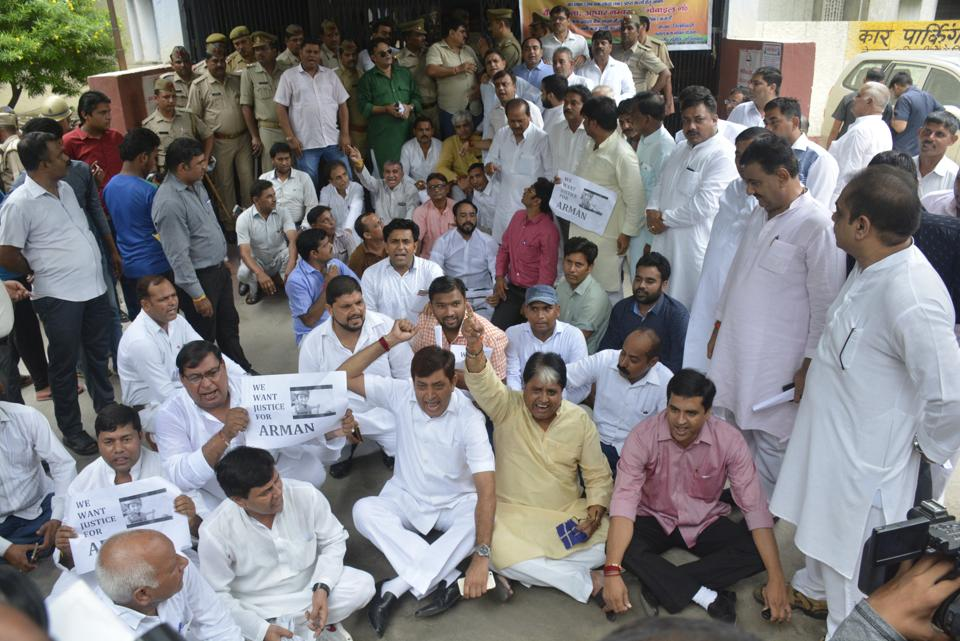 Local leaders from opposition parties held a protest at DM office demanding justice for Arman Sehgal.