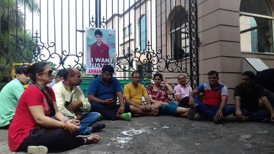 Arman's parents staged a sit-in outside GD Goenka School a couple of days ago.