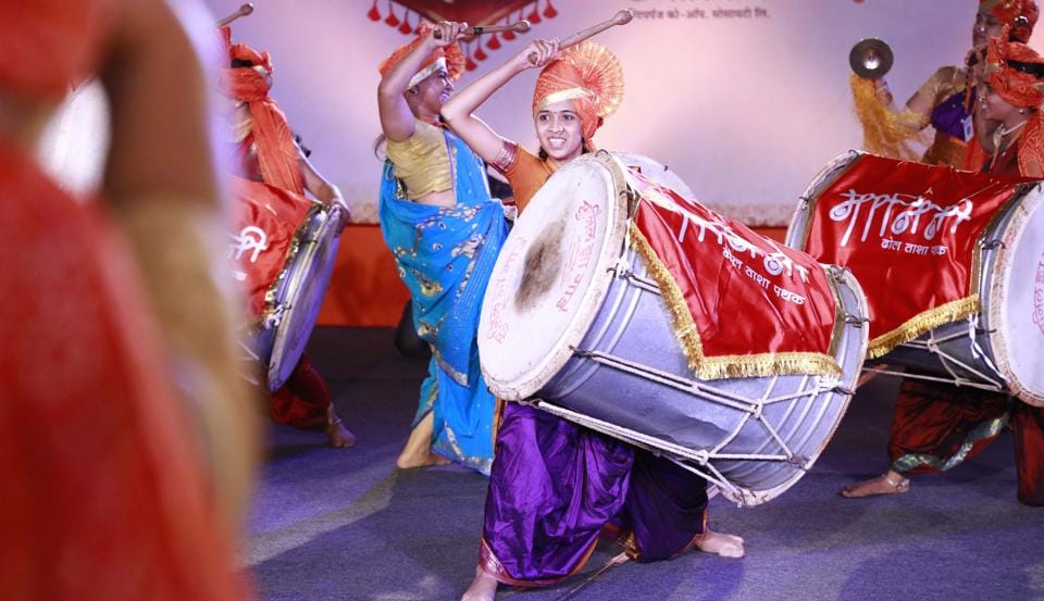 Members of various dhol tasha mandals participate in dhol tasha competitions being held across the city.
