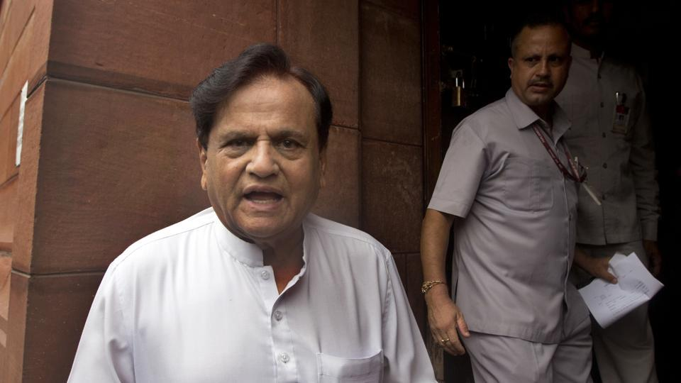 Congress leader Ahmed Patel arrives at the parliament house in New Delhi, India, Thursday, August 10, 2017.