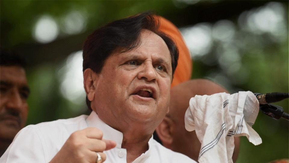 Congress Rajya Sabha member Ahmed Patel raises slogans while addressing Youth Congress protest in New Delhi on Thursday.