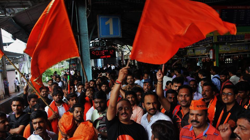 Protesters at Thane on Wednesday.