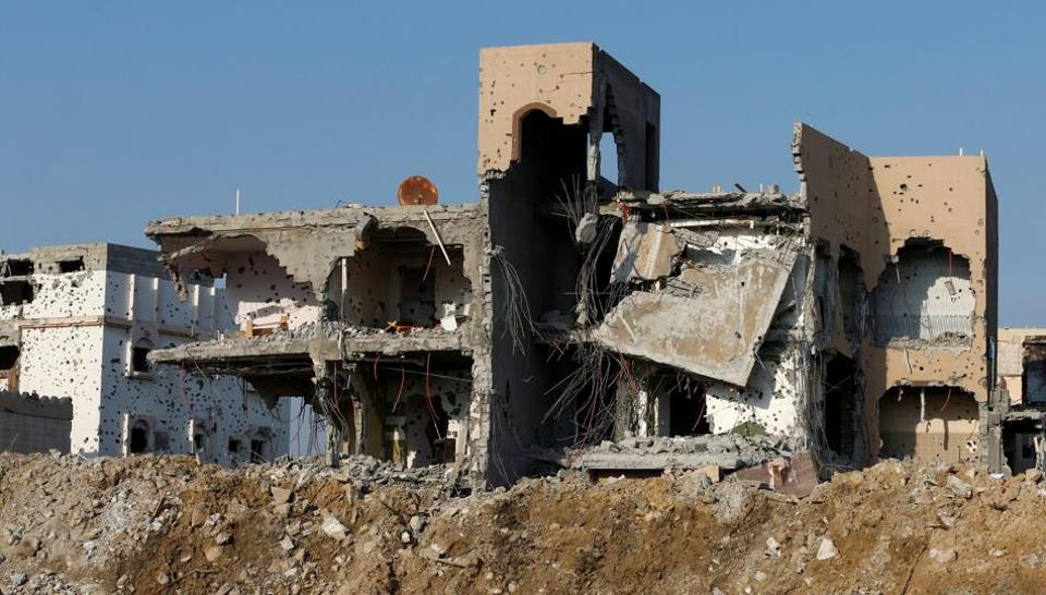 Remains of buildings are seen following a security campaign against Shia Muslims in the town of Awamiya, in the eastern part of Saudi Arabia August 9, 2017.