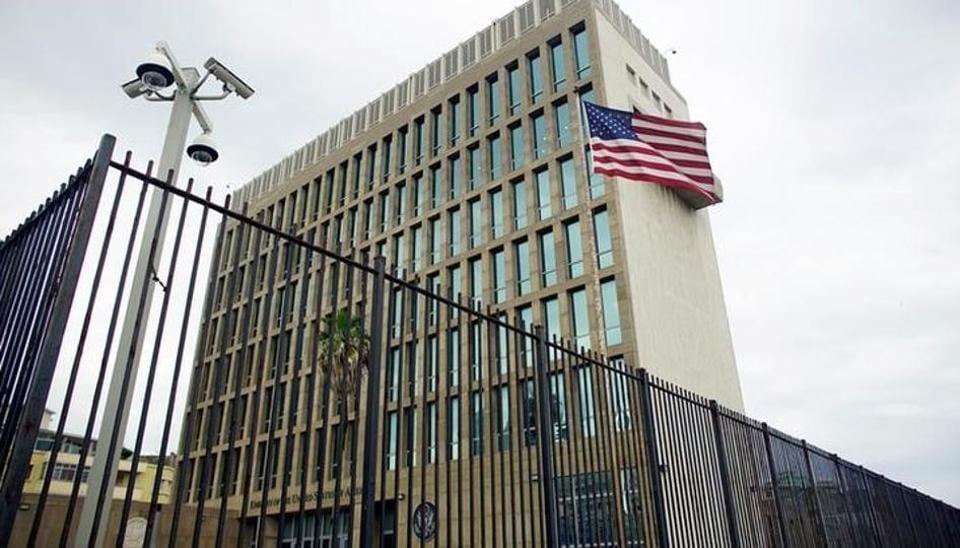 An exterior view of the U.S. Embassy is seen in Havana, Cuba, June 19, 2017.