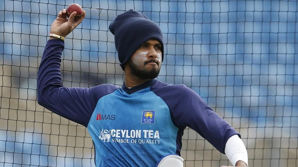 Sri Lanka's Dushmantha Chameera during nets ahead of 3rd Test match against India.