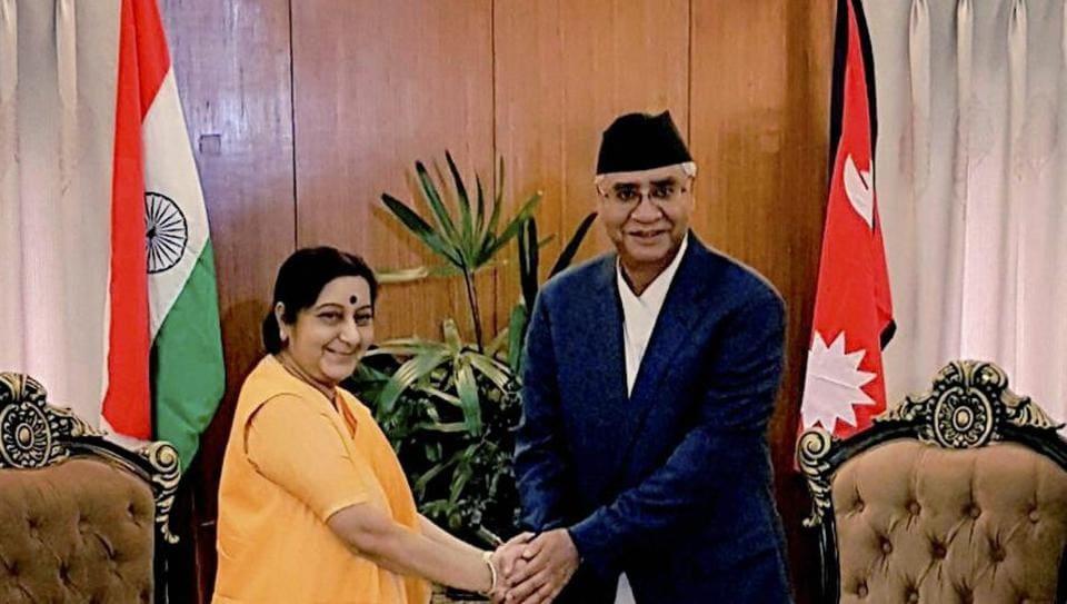 External affairs minister Sushma Swaraj and Nepal Prime Minister Sher Bahadur Deuba in Kathmandu on August 10, 2017.