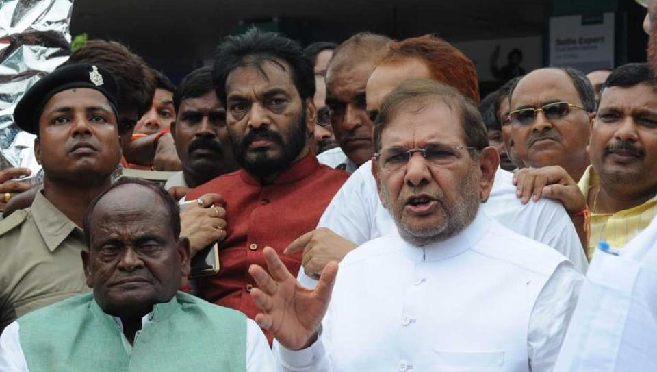 JD (U) leader Sharad Yadav (R) along with Ramai Ram at Patna airport on Thursday.