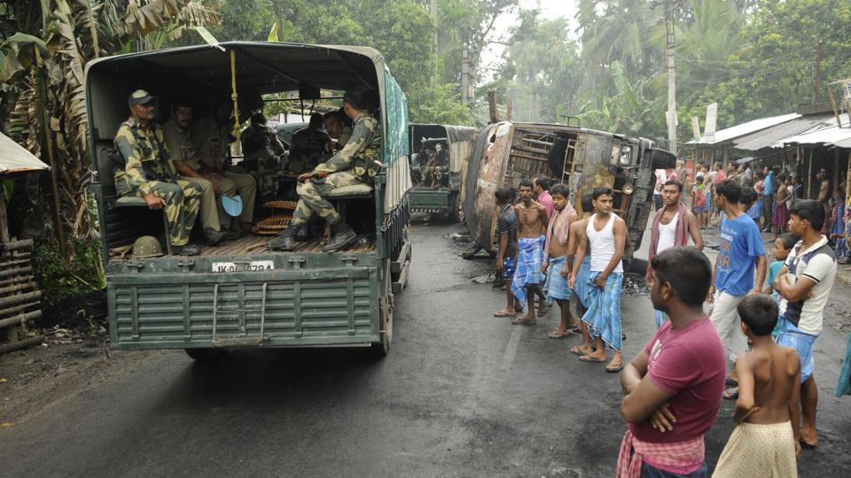 Troops were deployed at Basirhat subdivision in North 24 Parganas district after a Facebook post stoked communal tension.