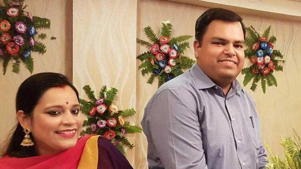 IASofficer Mukesh Pandey with his wife Aayushi. Security camera footage of the District Centre showed Pandey leaving from there, and later boarding a train at Janakpuri Metro station.