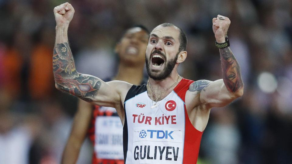Ramil Guliyev reacts as he wins the final of the men's 200m athletics event at the 2017 IAAF World Championships.