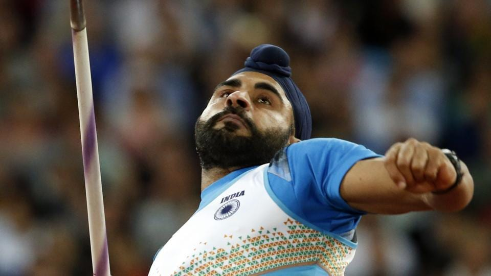 India's Davinder Singh makes an attempt in the men's javelin throw qualification during the IAAF World Championships in London Thursday.