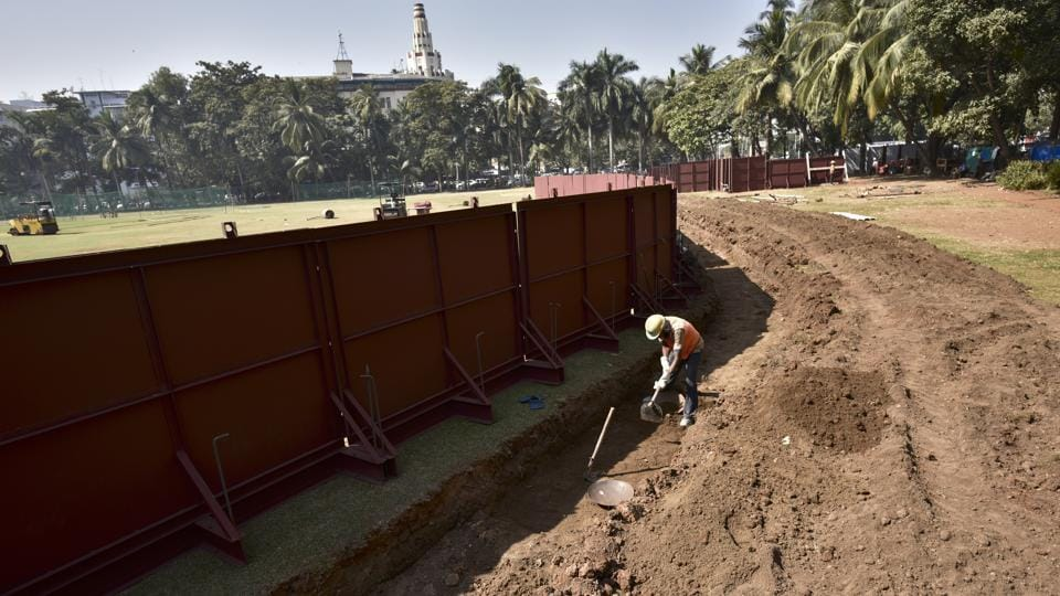 Metro construction work near Oval Maidan in Mumbai