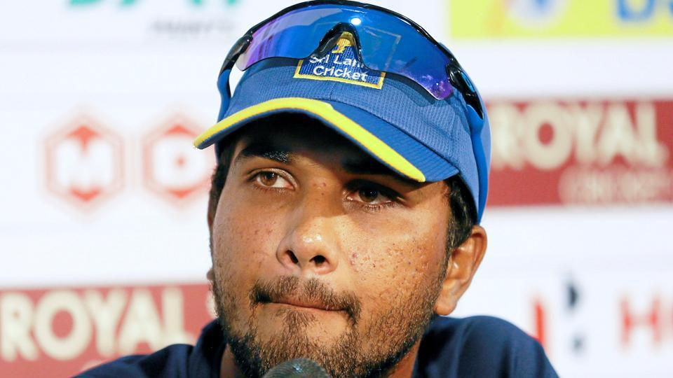 ri Lanka's cricket team captain Dinesh Chandimal reacts ahead of their final test match against India. (REUTERS)