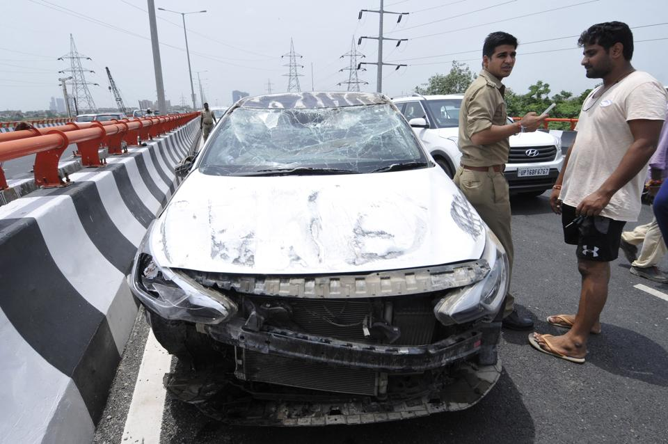 A speeding car overturned on MP 2 elevated road.