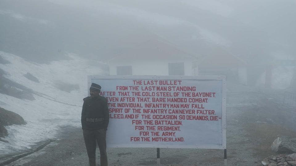 An Indian Army soldier at Nathu la pass.