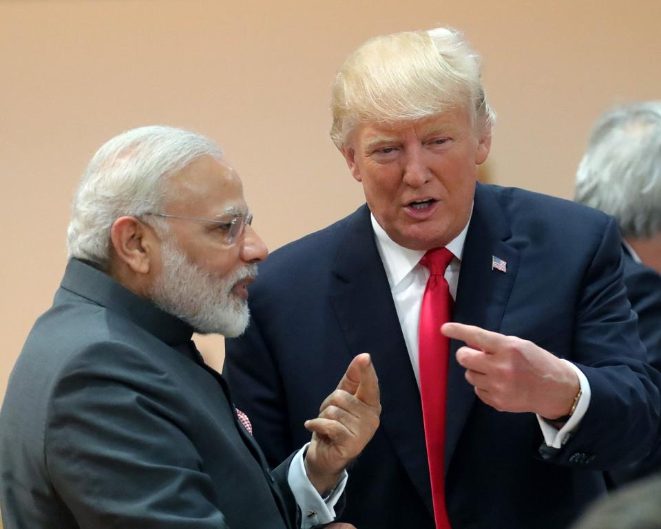 US President Donald Trump and Prime Minister Narendra Modi at the G20 summit in Hamburg on July 8, 2017.