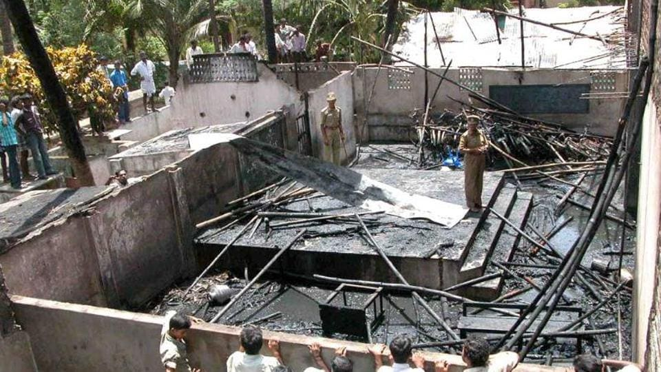 The school site after the massive fire at Kumbakonam in 2004. (HT file photo)