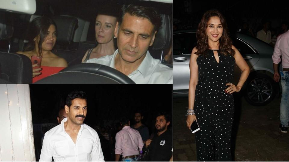 Madhuri Dixit, John Abraham and several other stars were present at the special screening of Toilet Ek Prem Katha in Mumbai.