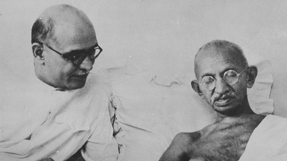 Mahadev Desai with Mahatma Gandhi (HT File)