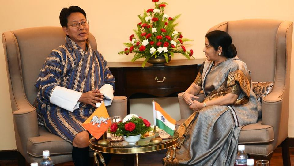 Indian foreign minister Sushma Swaraj and her Bhutanese counterpart Damcho Dorji during a bilateral meeting in Kathmandu on August 11, 2017. The foreign ministers are in Nepal for the BIMSTEC ministerial meeting.