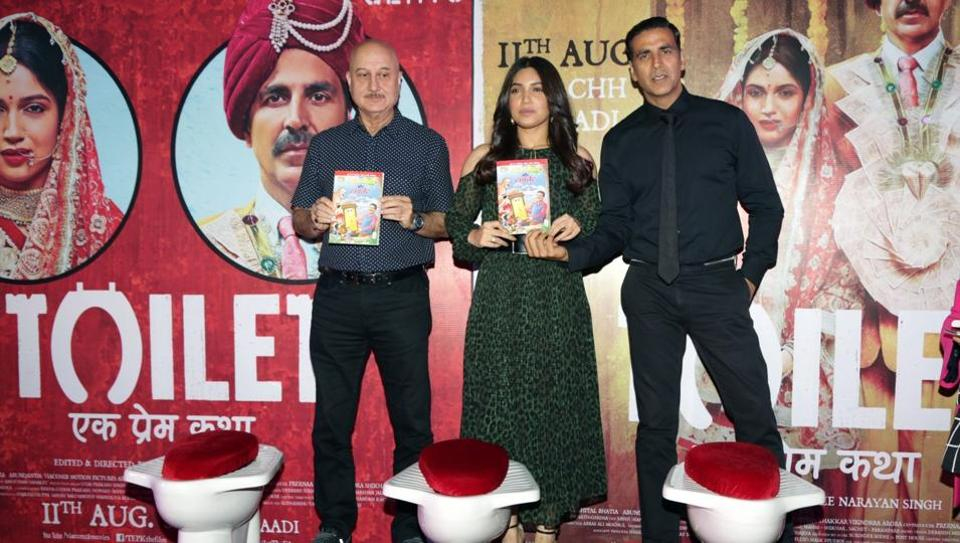 Actors Akshay Kumar, Bhumi Pednekar and Anupam Kher promote their movie Toilet: Ek Prem Katha that deals with the issue of open defecation and the Swachh Bharat Mission.