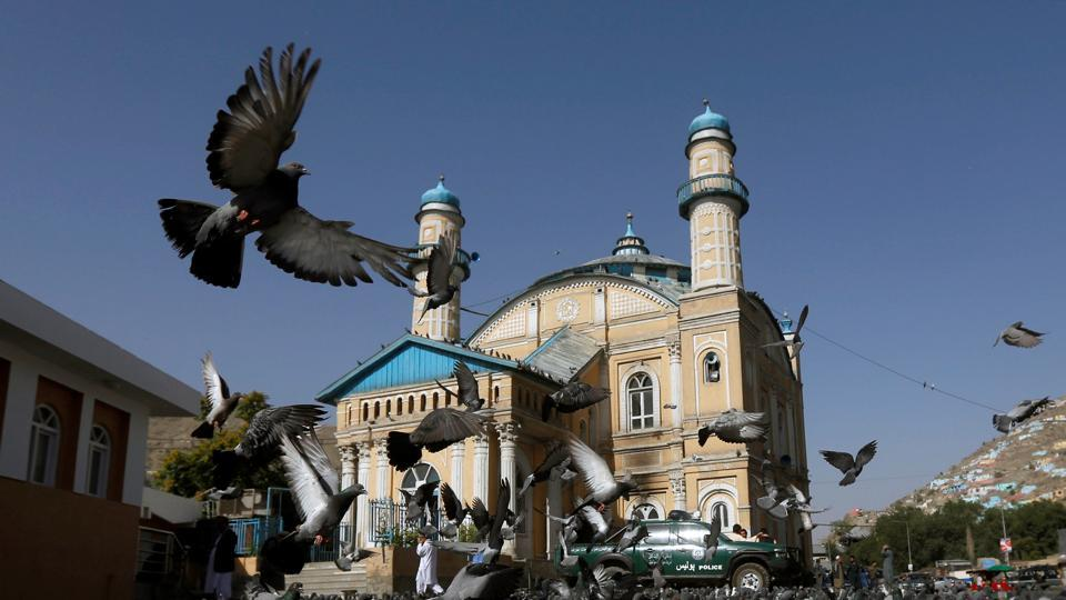 Pigeons fly outside the Shah-e Doh Shamshira Mosque in Kabul.