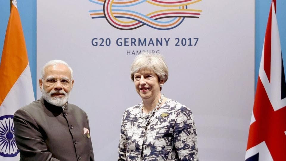 Prime Minister Narendra Modi with Britain PM Theresa May on the sidelines of the G-20 Summit in Hamburg, Germany, earlier this year.