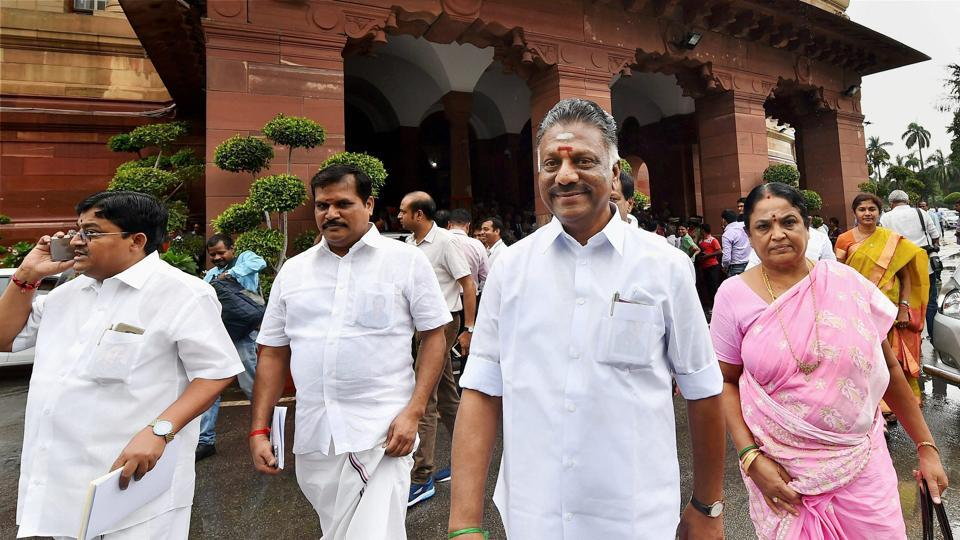 Former Tamil Nadu chief minister O Panneerselvam along with AIADMK leaders leaves after attending the swearing-in ceremony of President Ram Nath Kovind at Parliament House in New Delhi.