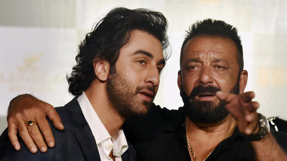 Sanjay Dutt and Ranbir Kapoor during the release of the first trailer of the Bhoomi.
