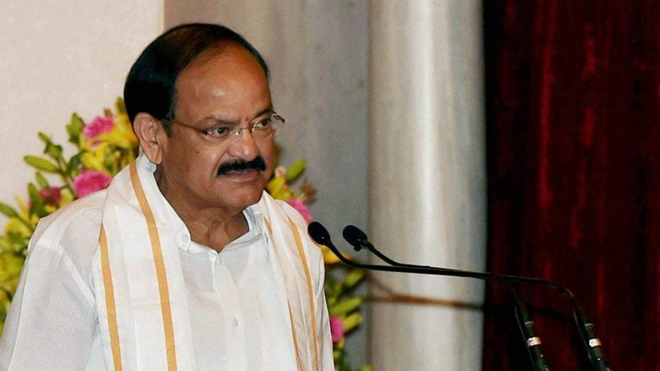 Venkaiah Naidu takes oath as India's vice president at a ceremony in the Durbar Hall of Rashtrapati Bhawan in New Delhi on Friday.