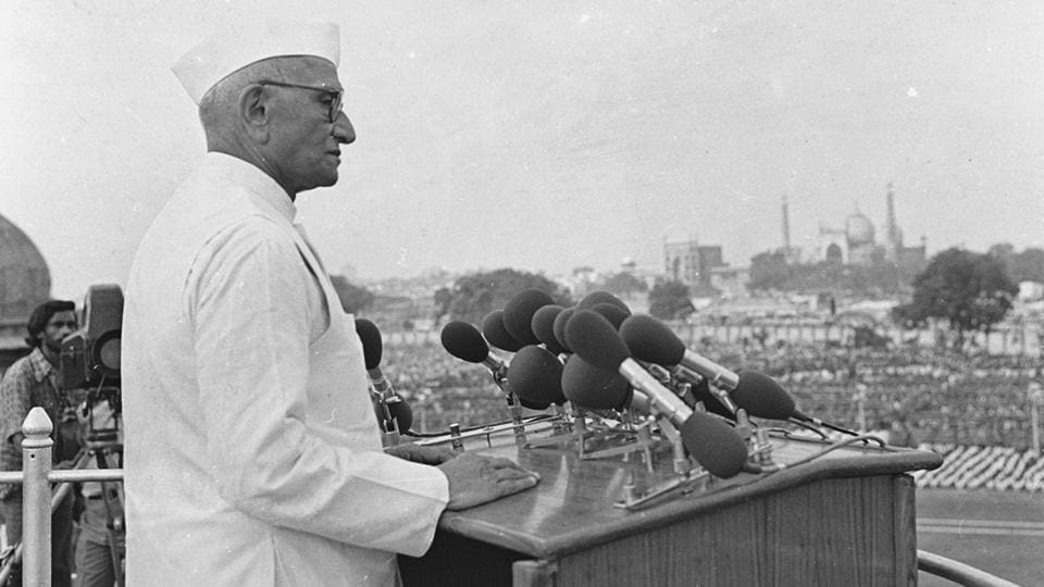 In 1977, while addressing the nation Prime Minister Morarji Desai  said, 'You can catch me by the ear when I make a mistake. But do not catch me alone, catch all the colleagues of mine if mistakes are committed. That is the kind of people's power we want to build.' He is popularly known for the 44th amendment of the constitution to prevent a state of emergency again in India.  (Virendra Prabhakar/HT Photo)