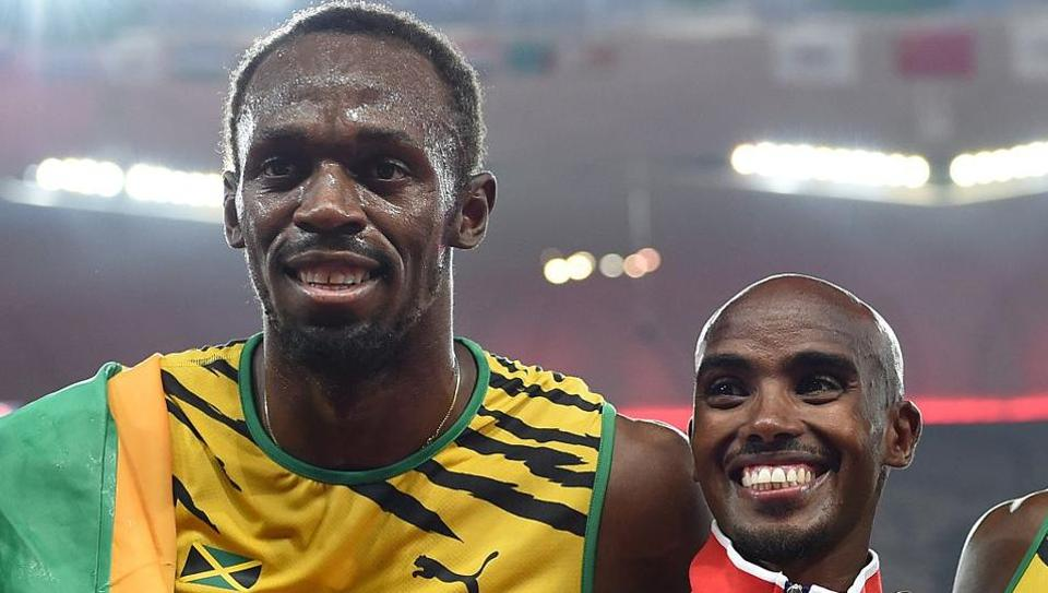 Mo Farah (R), 34, will retire from the track this month while Jamaican legend Usain Bolt's last event at the IAAF World Athletics Championships will be the 4x100m relay.