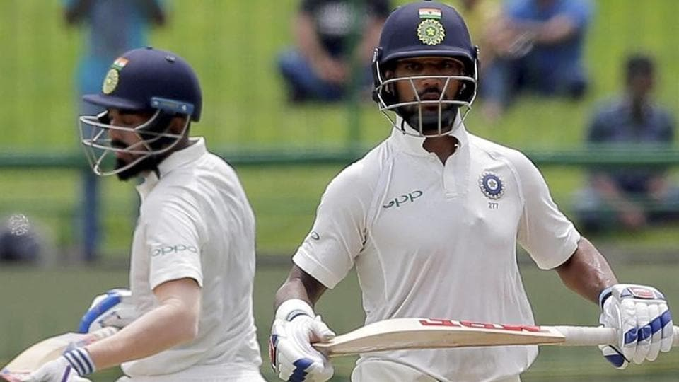 Indian cricket team's Shikhar Dhawan and KLRahul (left) during Day 1 of the third Test against Sri Lanka national cricket team in Pallekele on Saturday.