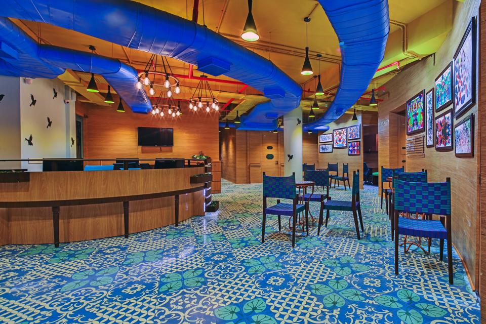 It looks like a trendy cafe, but this is one of the reception areas at the Mahajan Imaging Centre in Gurugram. The idea is to offer interiors that do not constantly remind people of a hospital environment, says co-founder Ritu Mahajan.