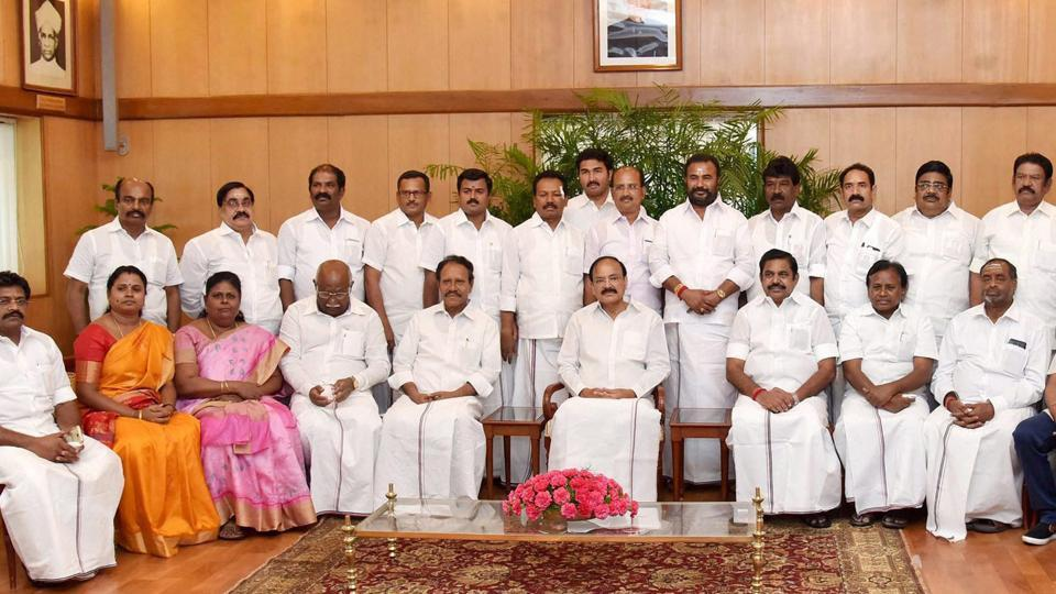 Vice-President M Venkaiah Naidu in a group photograph with an AIADMK delegation led by Tamil Nadu chief minister Edappadi K Palaniswami in New Delhi on Friday.