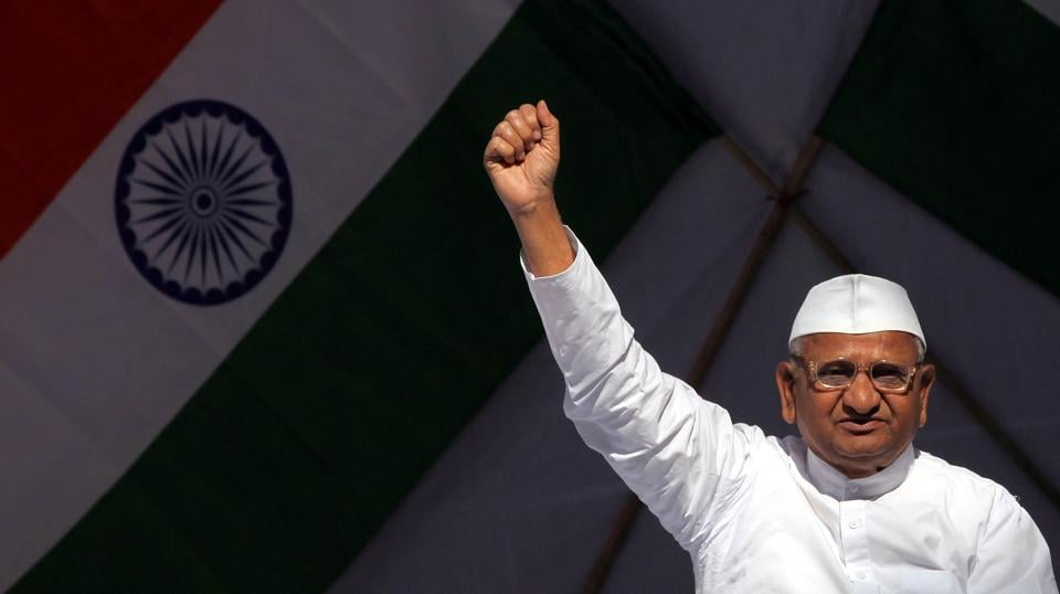 The year 2011 saw the nation gripped by the non-violent 'India Against Corruption' movement. Anna Hazare emerged as the face of this drive demanding the implementation of the Lokpal Bill resulting in the eventual enactment of The Lokpal and Lokayuktas Act, 2013. (Raj K Raj / HT Archive)
