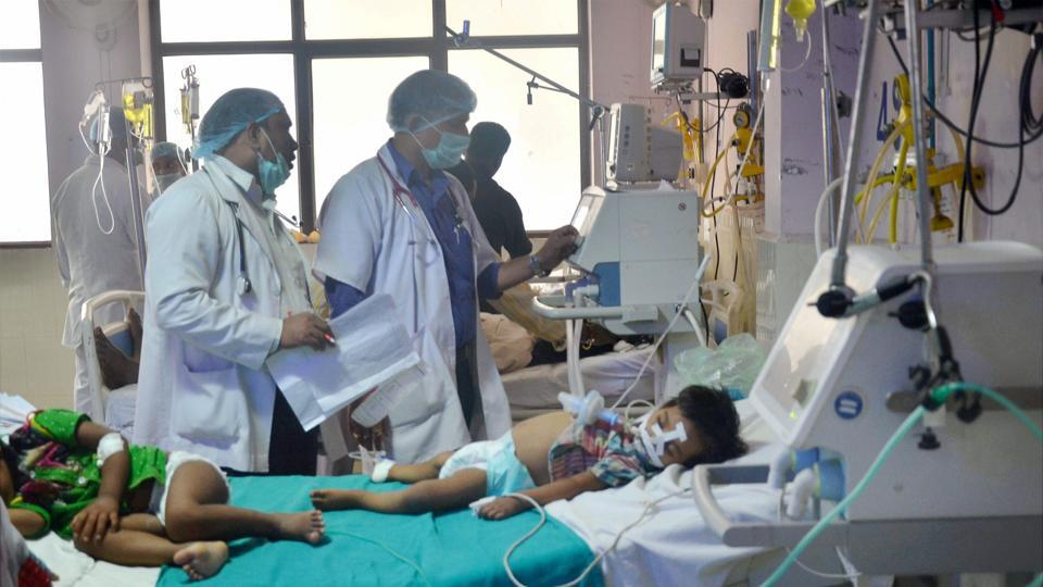 Children admitted in the encephalitis ward of the state-run Baba Raghav Das Medical College.