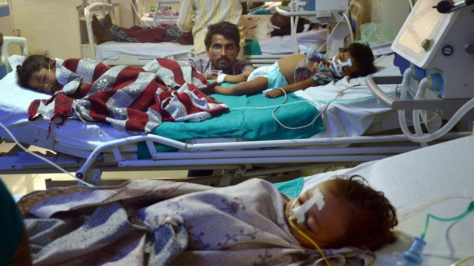 Children admitted in the Baba Raghav Das Medical College, Gorakhpur where at least 30 children died in the past 48 hours.