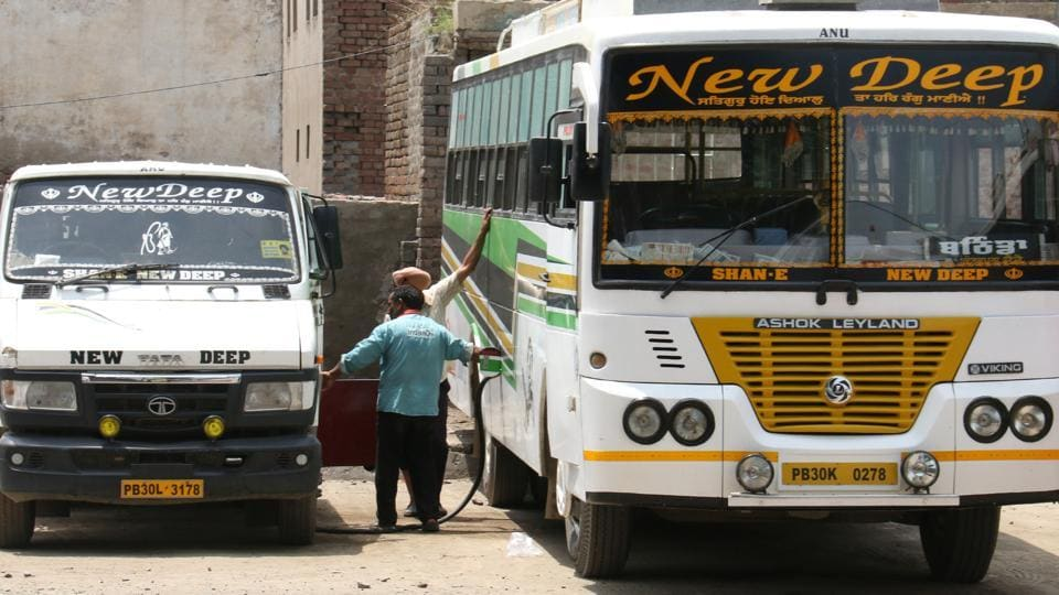 This is not a fuel station: In a bizarre display of the clout that private bus companies enjoy , vehicles carrying  oil tankers enter the Bathind aISBY to fuel buses of these companies.