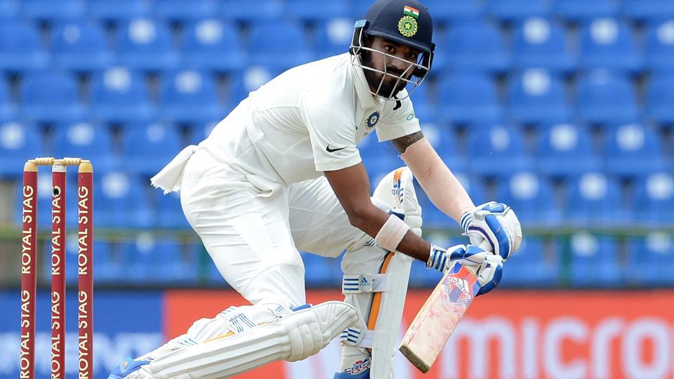 KL Rahul plays a shot during the first day of the third and final Test match between Sri Lanka and India. (AFP)