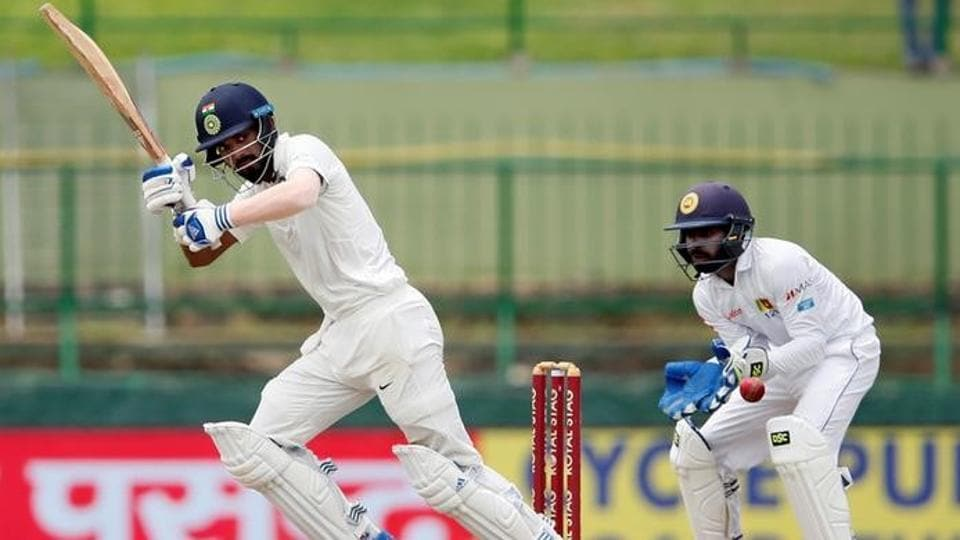 India's Lokesh Rahul plays a shot during his innings in the 3rd Test match against Sri Lanka. (REUTERS)