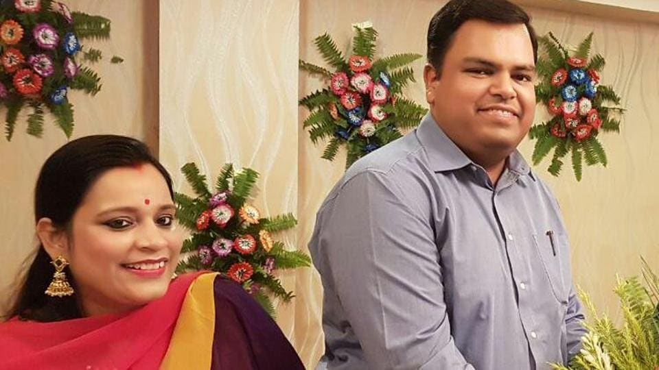 Buxar district magistrate Mukesh Pandey with his wife Aayushi at his farewell function in Katihar recently.