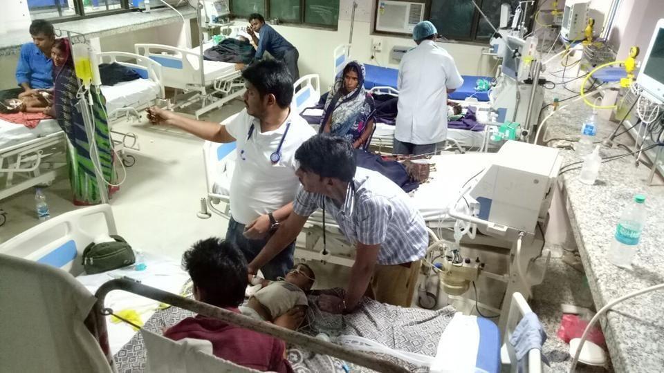 A scene at the encephalitis ward at BRD hospital in Gorakhpur.