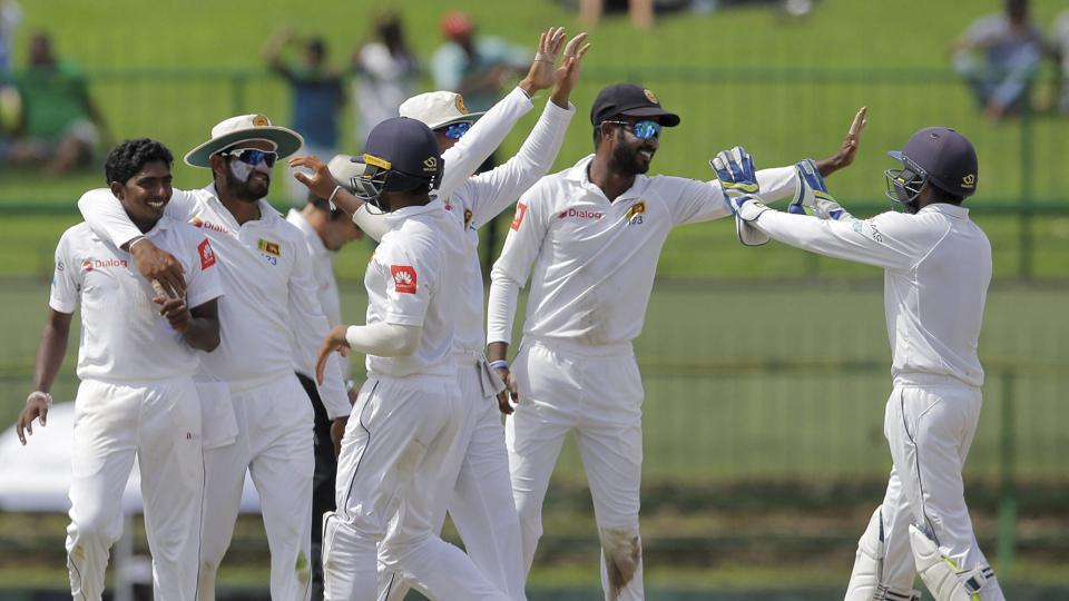 Sri Lanka celebrate the fall of a wicket. Catch full cricket score of IND vs SL, 3rd Test, Day 1 at Pallekele here.